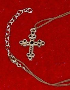 Cross Gothic Pewter w Beveled Black Stones 1 1/2L от softlychic