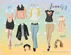 Paper Doll School: January Paper Doll - Set 5
