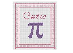Cutie Pi Cross Stitch -- Complete with digits of pi in border!