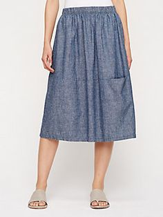 Calf-Length Oval Skirt in Hemp and Organic Cotton Chambray