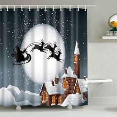 Bathroom Decor Christmas Eve Waterproof Shower Curtain
