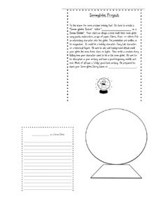 Snow Globe Project - Students create a character inside a snow globe and write a story.  A direction sheet for the project, writing paper and snow globe pattern are included in this file.