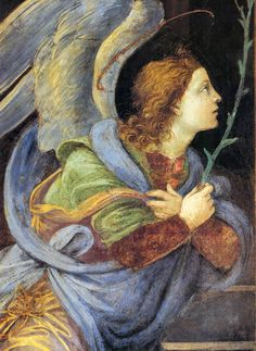 Angel by LIPPI, Filippino Italian painter, Florentine school (b. ca. 1457, Prato, d. 1504, Firenze) Annunciation (detail) 1489-91 Fresco Santa Maria sopra Minerva, Rome