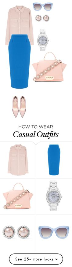 """""""Business Casual #4"""" by mary-en on Polyvore featuring Equipment, Roland Mouret, ZAC Zac Posen, Alice + Olivia, Miu Miu, Rolex and businessinsummer"""
