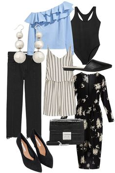 One-shoulder Blouse, Slipper, Swimsuit, Denim jeans, Playsuit, Statement Earrings, Flower print dress, Pumps, Michael Kors Cross-body Bag - teetharejade.com