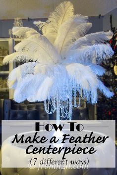 I used these DIY feather centerpieces at a Great Gatsby Party recently. They were so simple to put together and everyone loved them. Ostrich Feather Centerpieces, Masquerade Centerpieces, Feather Wedding Centerpieces, Masquerade Theme, Masquerade Ball Decorations, Masquerade Cakes, Masquerade Ball Party, Mardi Gras Centerpieces, Masquerade Wedding