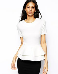 Asos Top with Double Frill Peplum in Scuba - Navy on shopstyle.com
