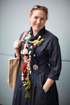Cynthia found an unexpected calling in crafting adorable creatures out of felt — and teaching others to do the same. Big Jewelry, Jewelry Art, Jewelery, Textile Jewelry, Fabric Jewelry, Fabric Beads, Textiles, Fabric Necklace, Cool Necklaces