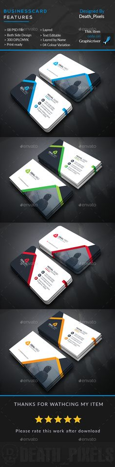 Corporate Business Card Template PSD. Download here: https://graphicriver.net/item/corporate-business-card/17474265?ref=ksioks