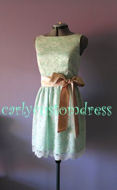 Short Mint Lace Bridesmaid Dress Ivory White by CarlyCustomDress, $85.99