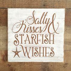 Salty Kisses Starfish Wishes Sign,Nautical Sign,Nautical Home Decor,Starfish Home Decor,Beach Decor Wall Art Beach Signs Wooden, Nautical Signs, Custom Wooden Signs, Nautical Home, Wooden Diy, Nautical Anchor, Beachy Signs, Nautical Quotes, Nautical Bath