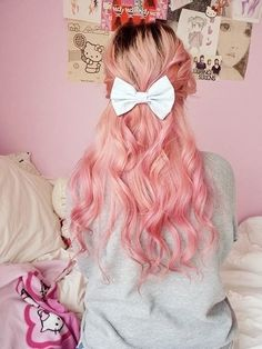 Pretty candy floss pink hair