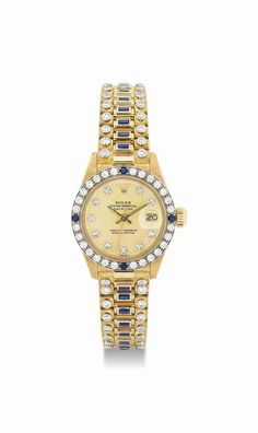Rolex. A fine and rare lady's 18K gold, diamond and sapphire-set automatic wristwatch with sweep centre seconds, date and bracelet. circa 1979. #watch #ChristiesWatches