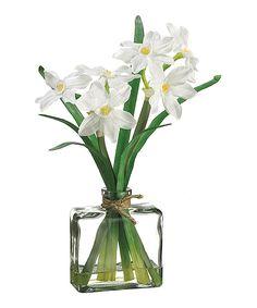 White 12'' Narcissus Glass Flower Arrangement