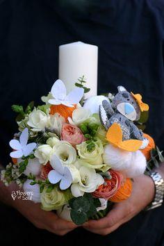 Flowers of Soul: Lumanari de botez Candels, Baptism Gifts, Christening, Candle Decorations, Bouquet, Sweet, Easter, Design, Candles