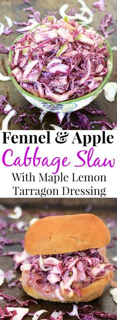 You'll love this Fennel, Apple and Red Cabbage Slaw tossed with Creamy Maple Lemon Tarragon Dressing. It's gluten free, low carb, and packed with nutrients. Enjoy it alone, with pulled pork, or on a ham sandwich~any way you eat it, it's delicious! #coleslaw #lowcarb #glutenfree #fall #apple #healthyfood #healthy #vegetarian via @thespicyrd