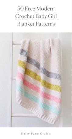 Crochet Afghans, Striped Crochet Blanket, Baby Girl Crochet Blanket, Crochet Girls, Baby Girl Blankets, Crochet Blanket Patterns, Crochet For Kids, Free Crochet, Crotchet Blanket