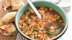Curtis Stone's Minestrone soup with tomato, basil & mozzarella panini