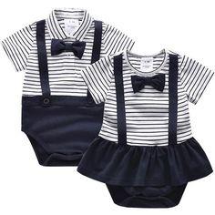 5SIS ☆3M-24M 夏季 BABY 寶寶款 男/女寶寶   橫紋 蝴蝶結  短袖 包屁衣 爬行衣 哈衣01