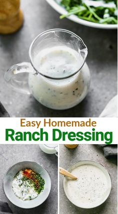 Easy homemade Ranch Dressing made with buttermilk, mayo, Greek yogurt and fresh or dried herbs. Like most things, it definitely tastes better from scratch! Easy Dressing Recipe, Salad Dressing Recipes, Salad Dressings, Salad Recipes, Vegan Ranch Dressing, Homemade Ranch Dressing, Family Meals, Family Recipes, Cheap Meals