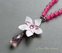 La vie en rose necklace flower necklace pink necklace jade