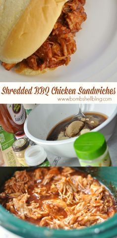 These crockpot barbeque chicken sandwiches are SOO good - plus they are an awesome freezer meal! Bbq Sandwich, Chicken Sandwich Recipes, Slider Sandwiches, Shredded Chicken Sandwiches, Shredded Chicken Recipes, Slow Cooker Recipes, Crockpot Recipes, Cooking Recipes, Cooking Ideas