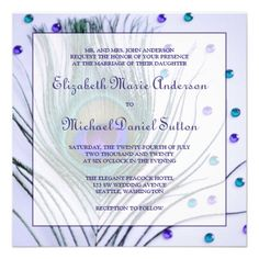 Glam Peacock Feather Purple Wedding Custom Announcement