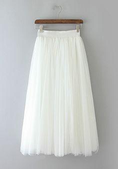 9c119fe0014 Jupe uni tutu en tulle drapé adorable haute cintrée cute mode blanc femme