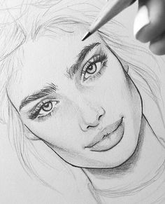 Drawing Pencil Portraits - GenevaGrace line weights Discover The Secrets Of Drawing Realistic Pencil Portraits Pencil Art Drawings, Art Drawings Sketches, Cool Drawings, Drawing Faces, Sketch Art, Drawing Eyebrows, Nice Eyebrows, Eyebrows Sketch, Female Face Drawing