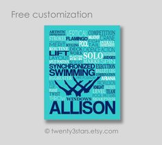 This canvas or art print would look great in any synchronized swimmers room. Makes a great gift to commemorate a good season, a senior year or as a graduation gift.  Sports Team Discounts are available. Please send me a note!  The colors above are just an example. I can do any colors or patterns you want! Just let me know if your notes to seller at checkout.  :::★ To Order ★:::  Select your preferred size from the pull-down menu and add item to your cart. In the message to seller field…