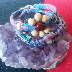 Adult bracelets on pink & blue mixed hemp, glass flower beads and wood beads in flower design #completedprojects #hempjewlz #hemp #jewelry #bracelet #pinkblue #coloredhemp #glass #flower #beads #wood