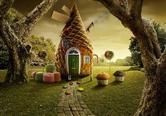 What fairy tale is this imaginary candy house from? Hansel And Gretel House, Hansel Y Gretel, Candy House, Unique Buildings, House Drawing, Candyland, Charleston, Fairy Tales, Animation