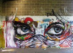 Amazing street art ♥ #graffiti #eyes #illustration