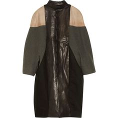 Rick Owens Leather-paneled cotton and wool coat ($998) found on Polyvore