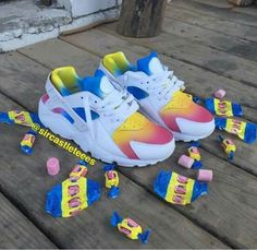 Nike Air Huarache customs I cant decide to put this in my food folder or show folder🤔🤤 Haraches Shoes, Fly Shoes, Nike Air Shoes, Hype Shoes, Jordan Shoes Girls, Girls Shoes, Cute Sneakers, Shoes Sneakers, Nike Shoes Huarache