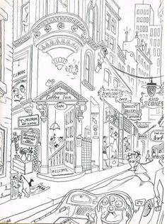 a wonderful cartoon of Rowe Street, from 'Sydney Observed' by Bernard Hesling.