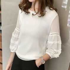 #YesStyle - #Little V Knit Panel 3/4-Sleeve Top - AdoreWe.com Casual Chic Outfits, High Fashion Dresses, Hijab Fashion, Fashion Outfits, Blouse Styles, Blouse Designs, Hijab Stile, Stylish Dress Designs, Blouse Vintage