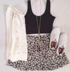Sweater: jumper skirt necklace crop top crop tops flower flowers jewels shoes tank top