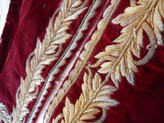 2 ANTIQUE FRENCH GOLD METALLIC EMBROIDERY VELVET   FABRIC 18 th-century