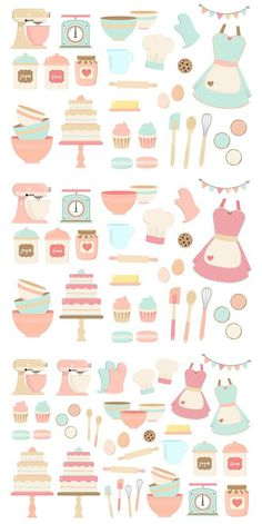 Pink and blue Baking Clipart, Cute Digital PNG Graphics featuring Vintage Bakery kitchen's utensils, sweet cakes and cookies. Ideal for planner stickers, party