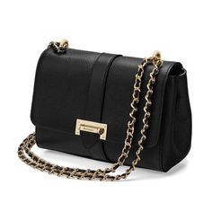 Small Lottie Bag in Black Pebble from Aspinal of London
