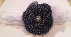 White ruffled Headband accented with navy & white poka dot chiffon flower. Worn centered or to the side. Perfect addition to pictures! by RockinRobinsBling, $6.00