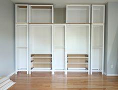 DIY BUILT-IN BOOKCASE REVEAL (AN IKEA HACK) – Studio 36 Interiors Ikea Wardrobe Storage, Ikea Storage, Built In Wardrobe, Built In Storage, Hemnes Bookcase, Ikea Billy Bookcase Hack, Built In Bookcase, Bookshelves, Bookcase White