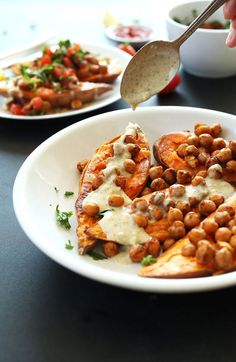 Mediterranean Baked Sweet Potatoes with Spiced Chickpeas