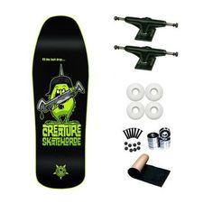 "Creature Skate Horde Powerply Old School 9.4 Skateboard Deck Complete by Creature. $59.98. Brand New Creature Skateboard Deck 9.4 x 32. 8 - Abec 3 Bearings. 2 - Frontage Trucks 7.75"". 1 set - Skateboard Hardware & 1 - Black Randel Grip Tape. 4 - Yellow Jacket Blank Wheels 53mm. Brand New, Top Quality Creature Skateboard Complete"