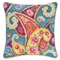 Paisley Garden Pillow Top - Cross Stitch, Needlepoint, Stitchery, and Embroidery Kits, Projects, and Needlecraft Tools   Stitchery