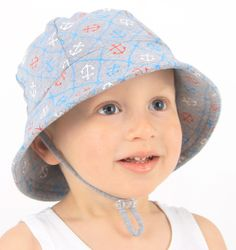 Bedhead Hats - Nautical Boys Baby Bucket Hat with chin strap for girls & boys UPF 50+ Sun Protection