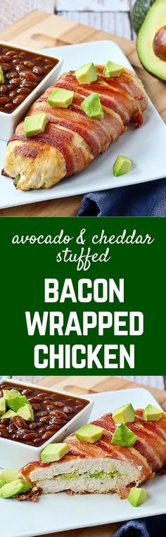 Bacon wrapped chicken breast stuffed with avocado and cheddar...do I ...