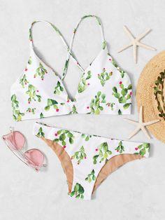 Shop Cactus Print Cross Back Bikini Set online. SheIn offers Cactus Print Cross Back Bikini Set & more to fit your fashionable needs.
