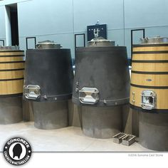 At Continuum Estate, Concrete Conical Tanks / 700 to 1,080 gal.   Can customize to fit your winery. Open-top or closed with large manways. Can be placed on a raised foundation, powder coated steel adjustable ring support or matching concrete legs. Optional glycol temp-control. 10-year guarantee against structural cracks or leaks. Sonoma Cast Stone makes the finest concrete wine tanks on earth, right in the California Wine Country. #winelover #SonomaChat #winechat #concretewinetanks.com